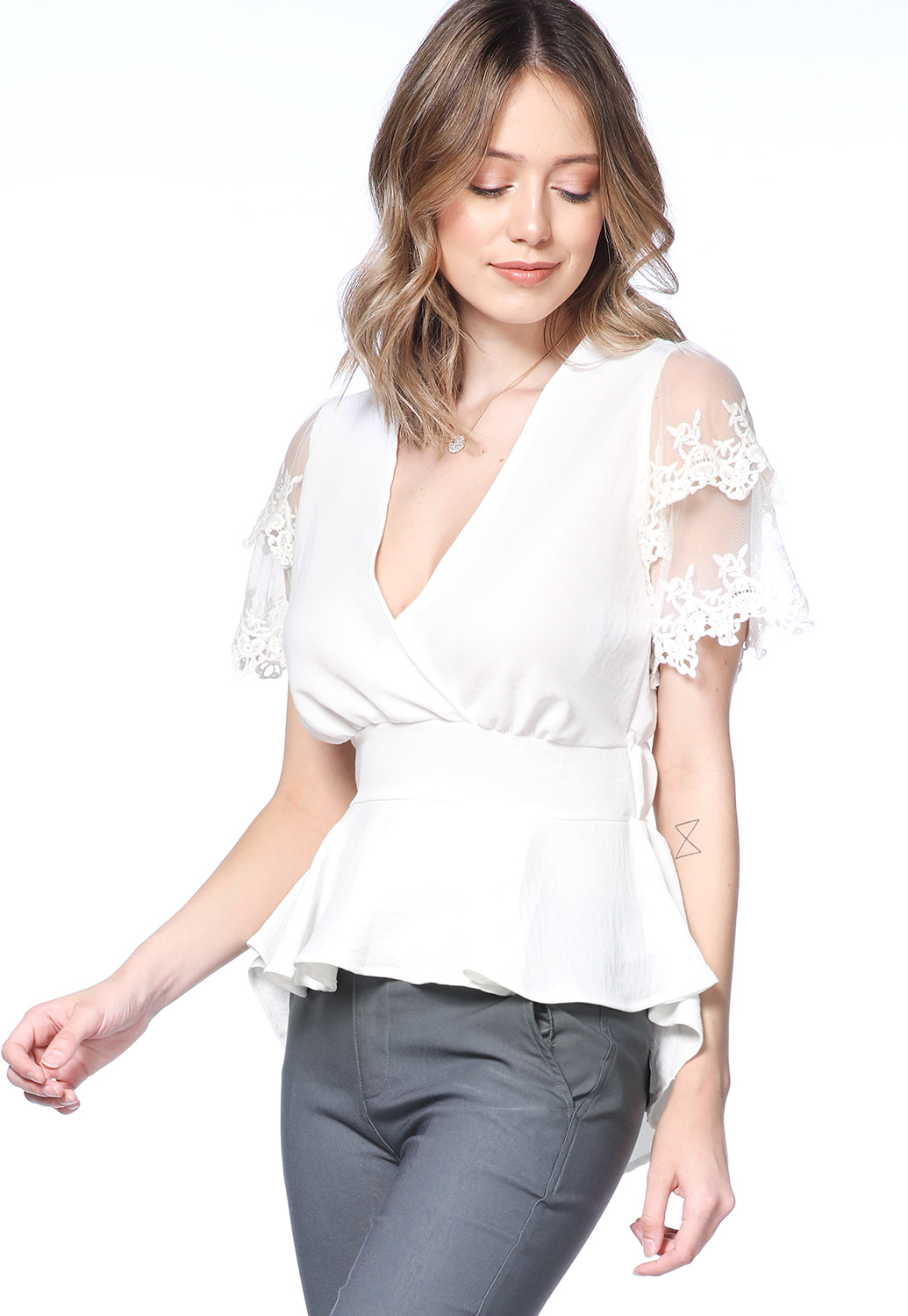 Lace Trim Flare Hem Top