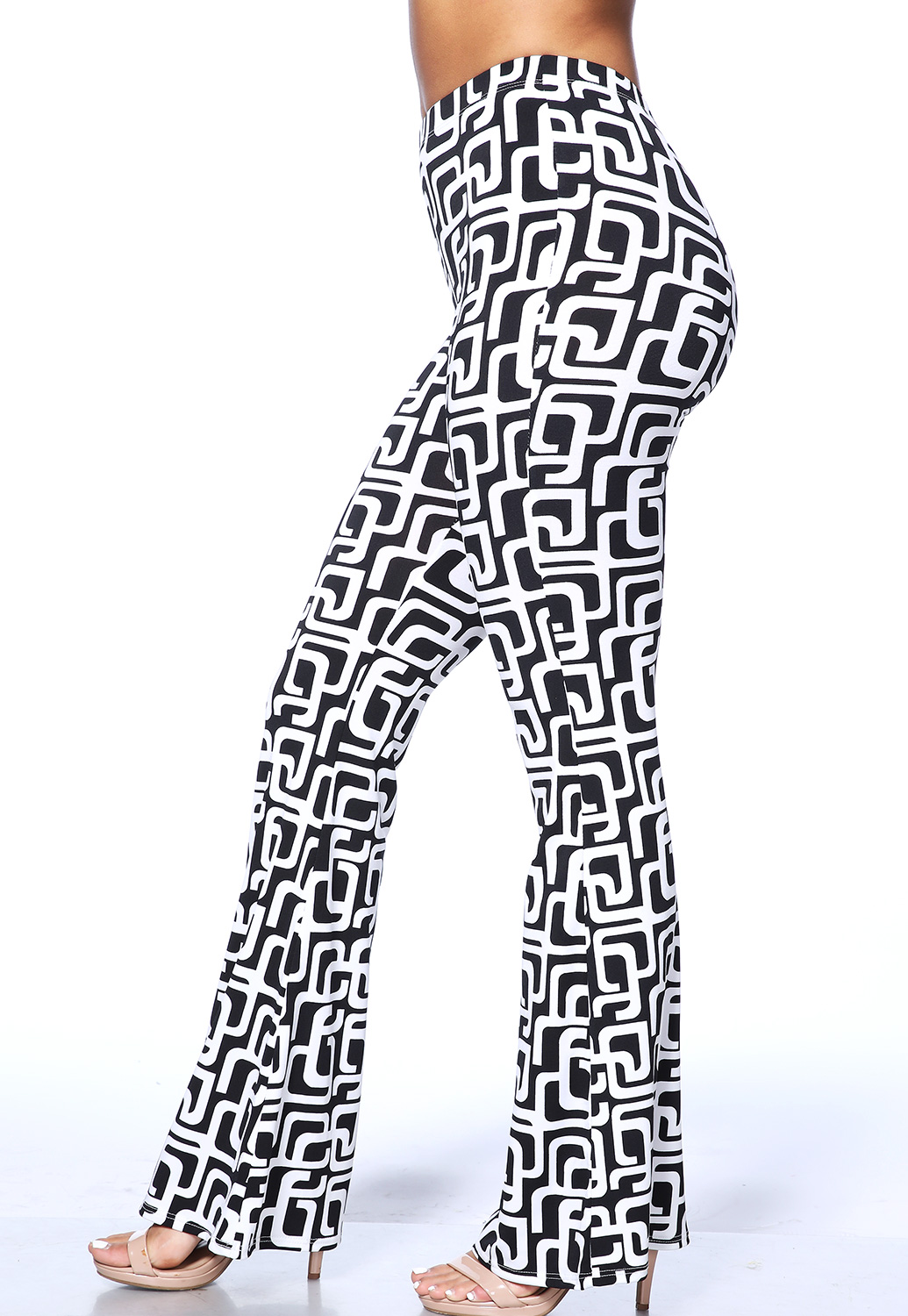 Geo Print Bell Bottom Pants