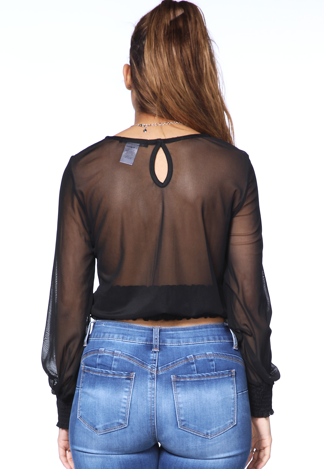 Sheer Mesh Glitter Embellished Top