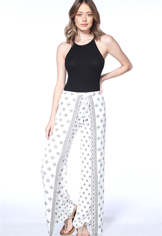 Abstract Print Tie Front Pants