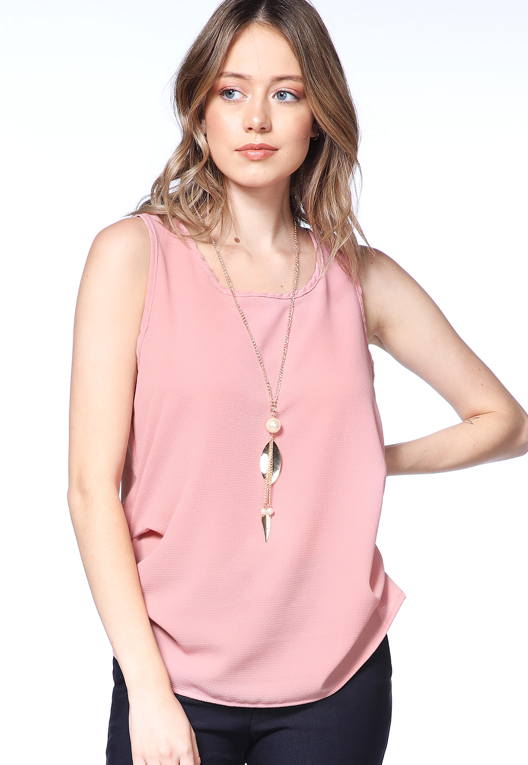 Side Ruched Dressy Top W/Necklace
