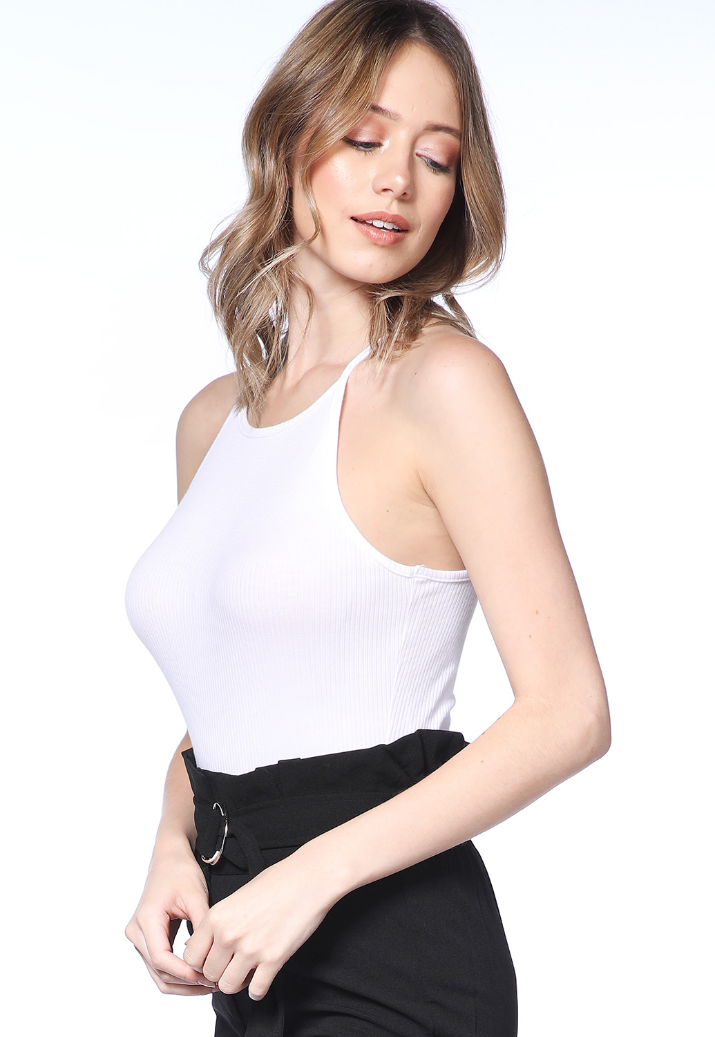 Ribbed Halter Bodysuit