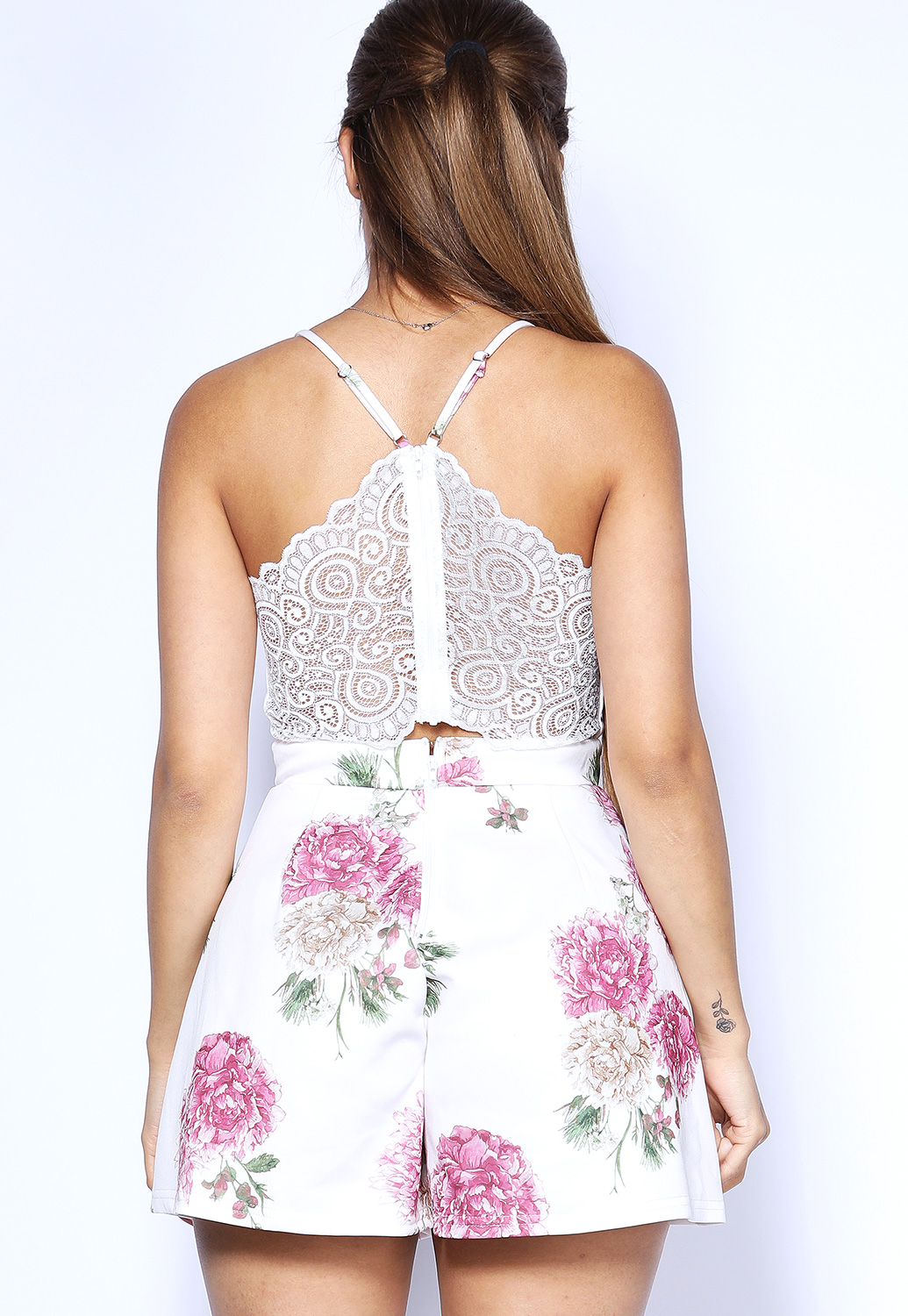 Back Lace Trim Floral Romper