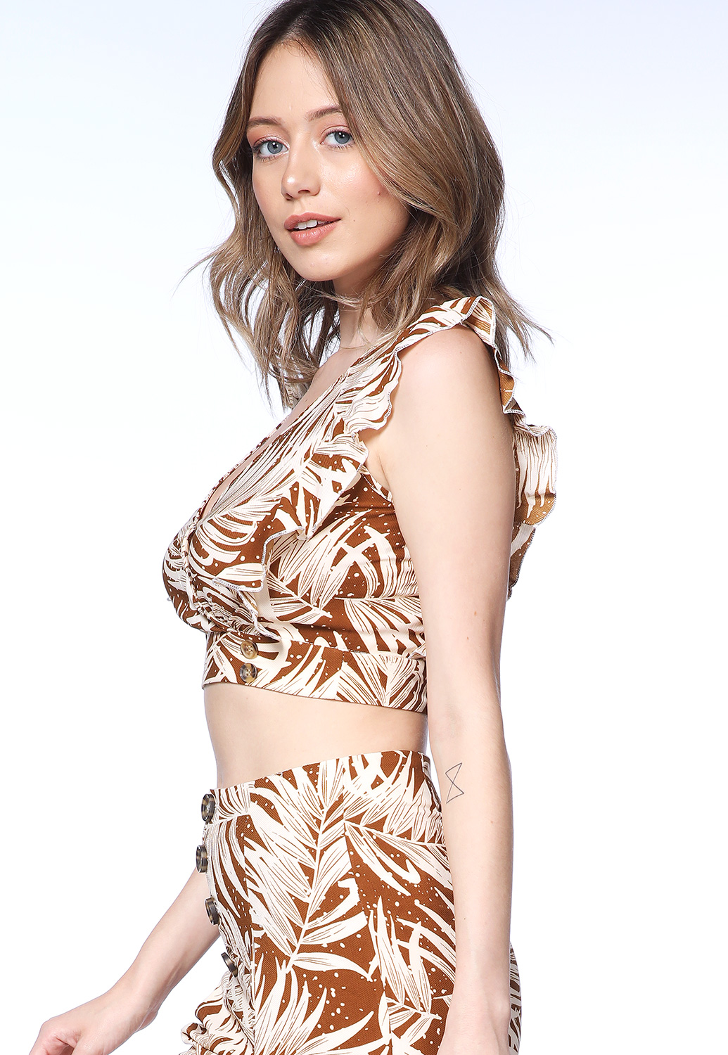 Leaf Print Surplice Top