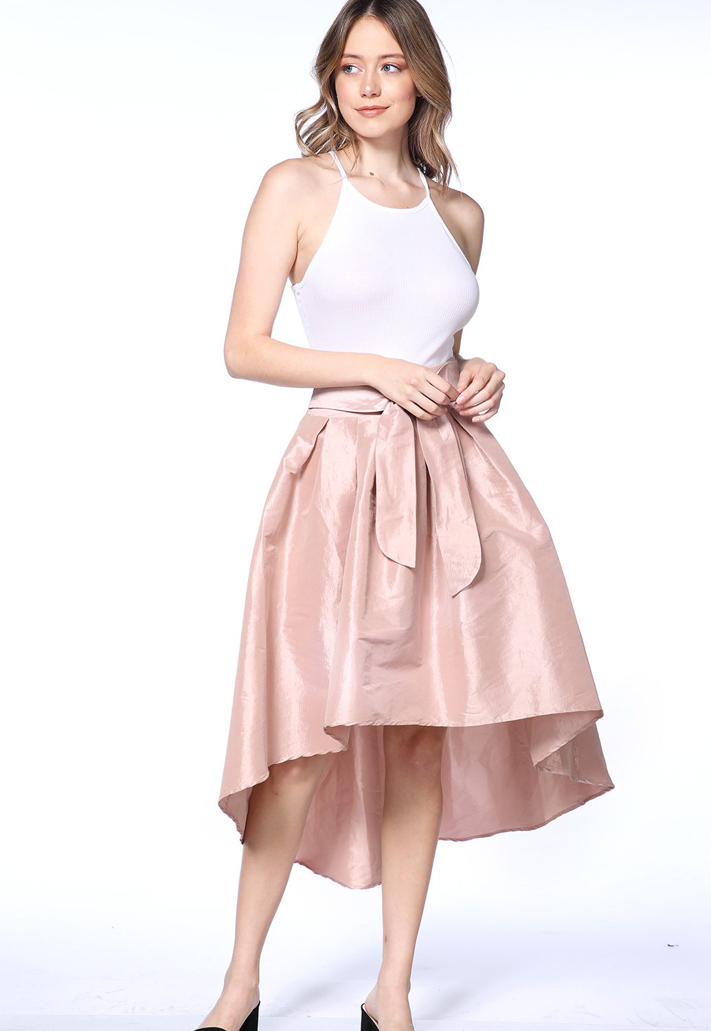 High Low Bow Satin Midi Skirt
