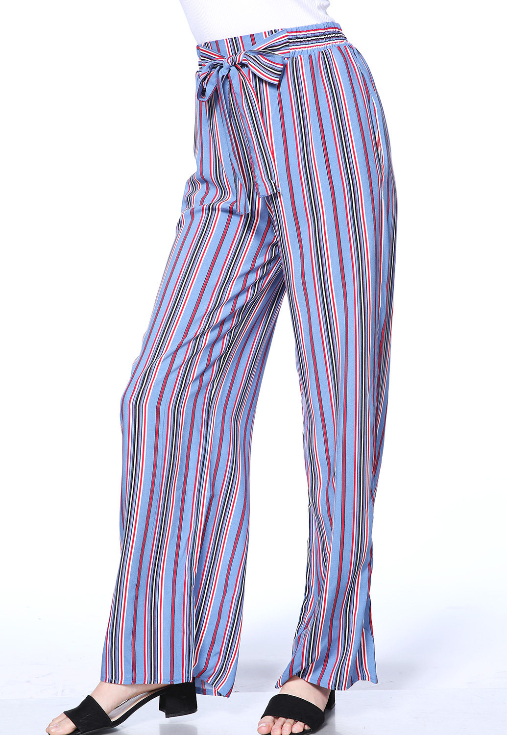 Striped Tie Front Pants
