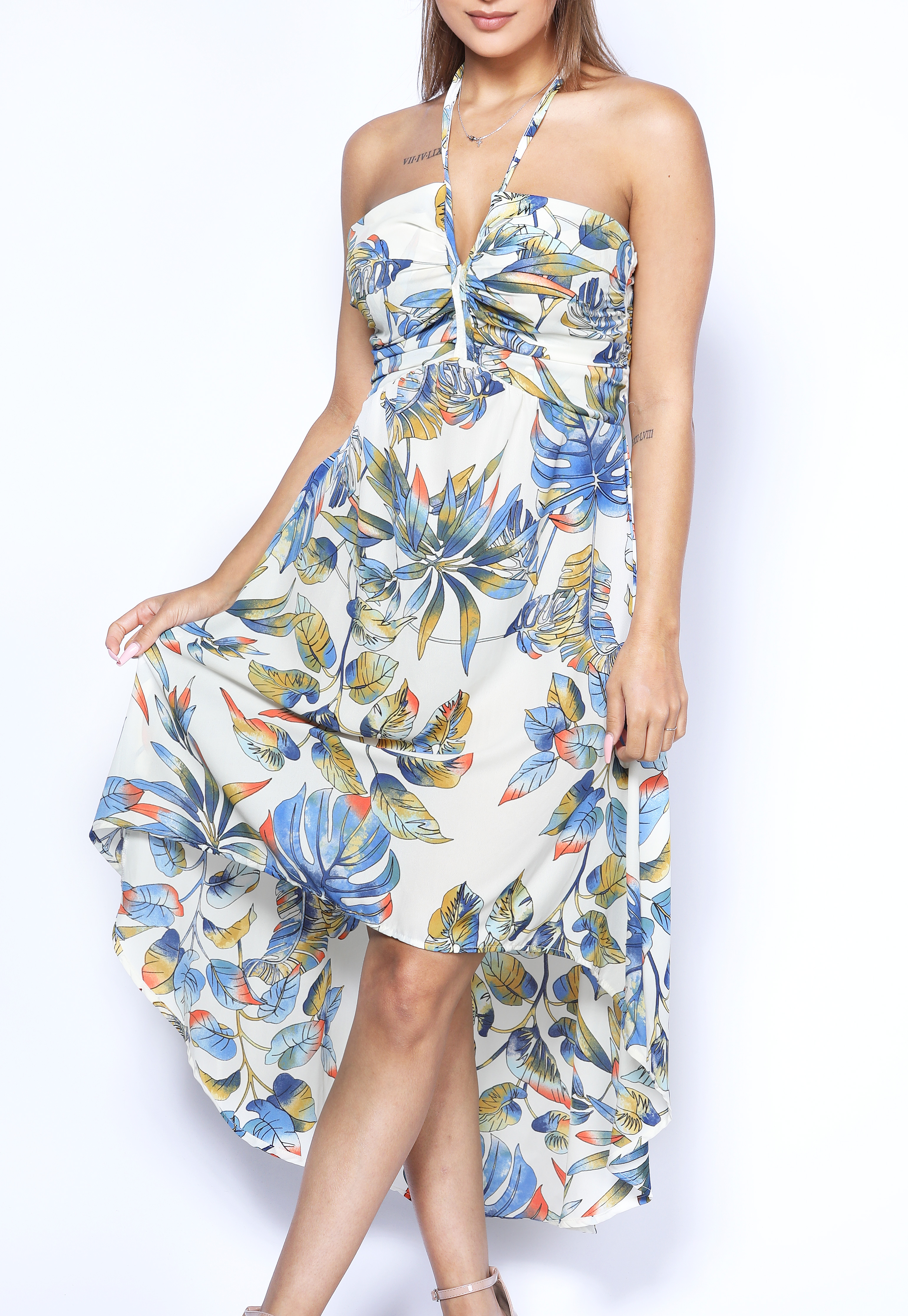 High Low Halter Neck Dress