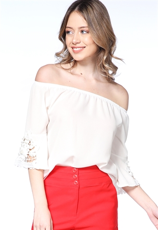 Off The Shoulder Pearl Accented Top