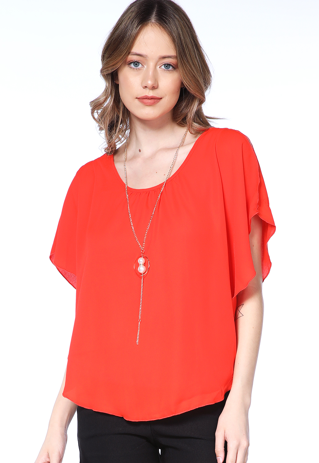 Open Shoulder Dressy Top W/Necklace