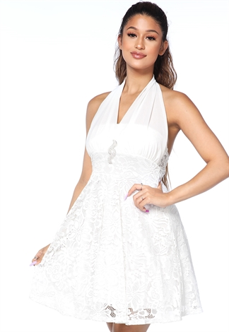 Lace Halter Fit-And-Flare Dress