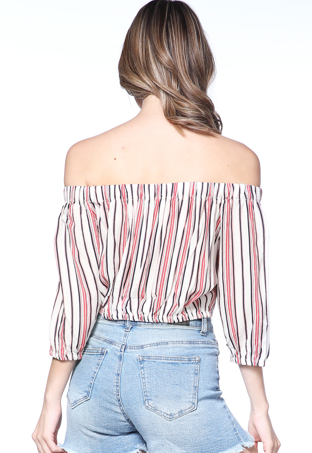 Pinstriped Off The Shoulder Top