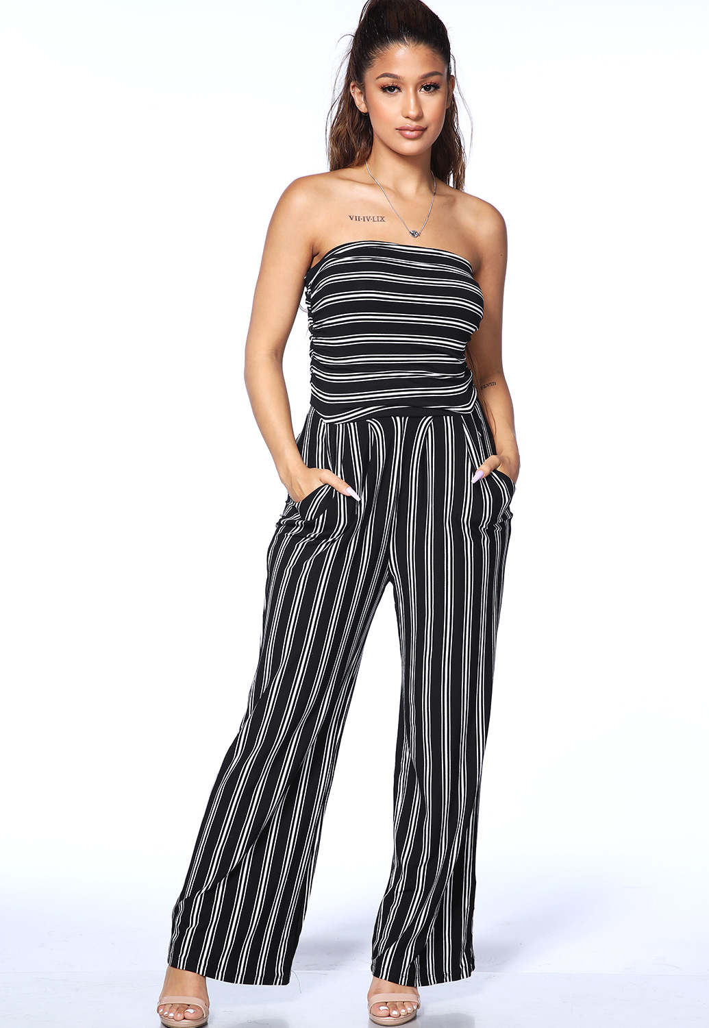 Striped Strapless Jumpsuit