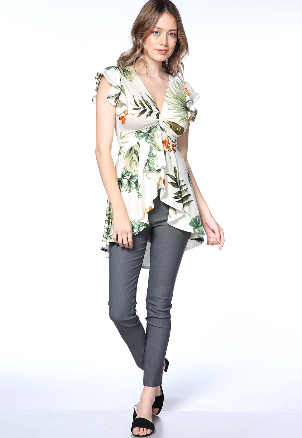 Floral High Low Dressy Top