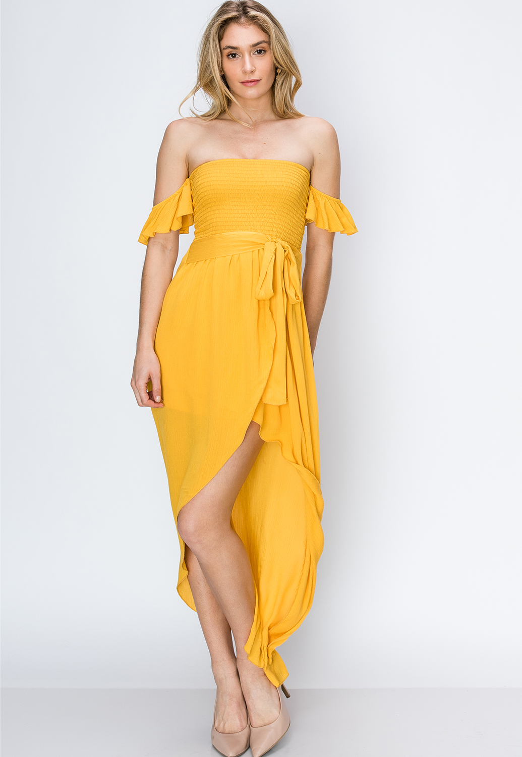 Smocked Tulip Hem Maxi Dress