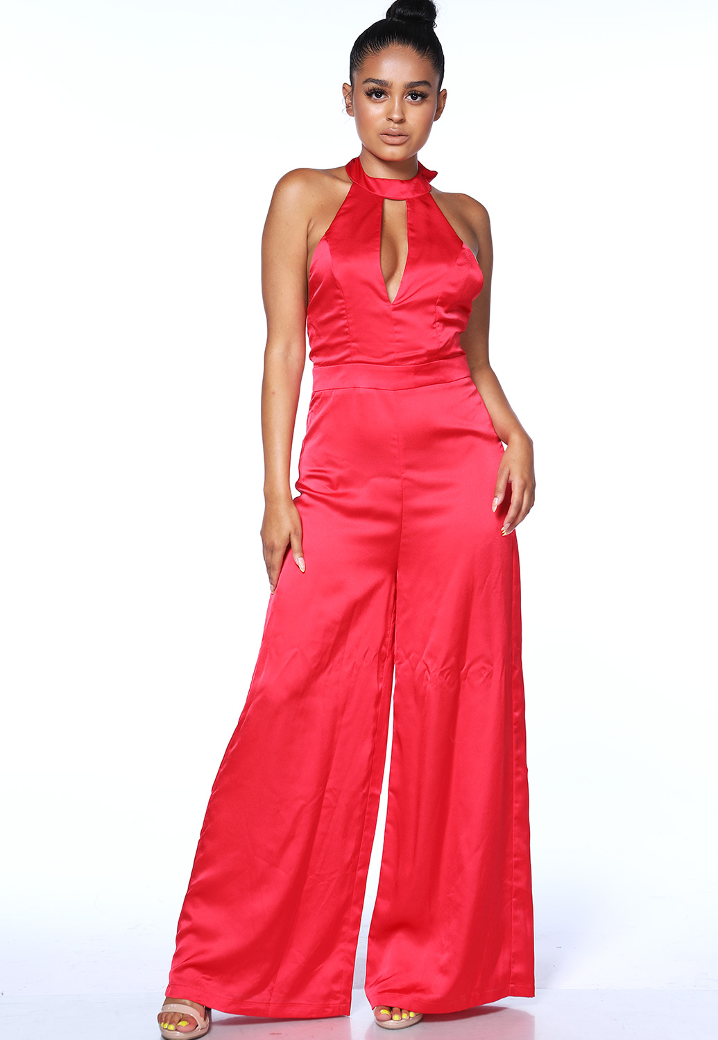 Satin Halter Neck Jumpsuit
