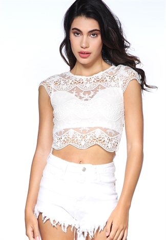 Sheer Crochet Trim Top
