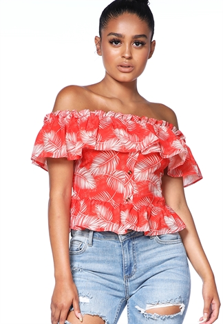Off The Shoulder Leaf Print Top