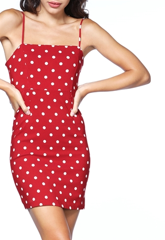 Polka Dot Print Mini Dress