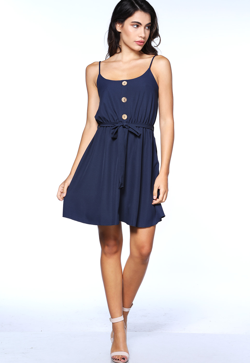 Button Detail Tie Front Mini Dress