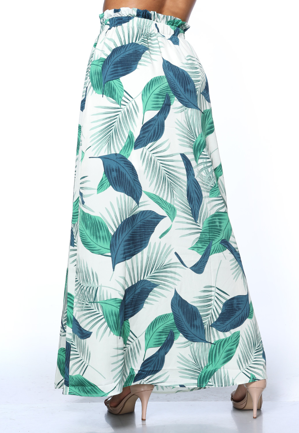 Leaf Print Long Skirt