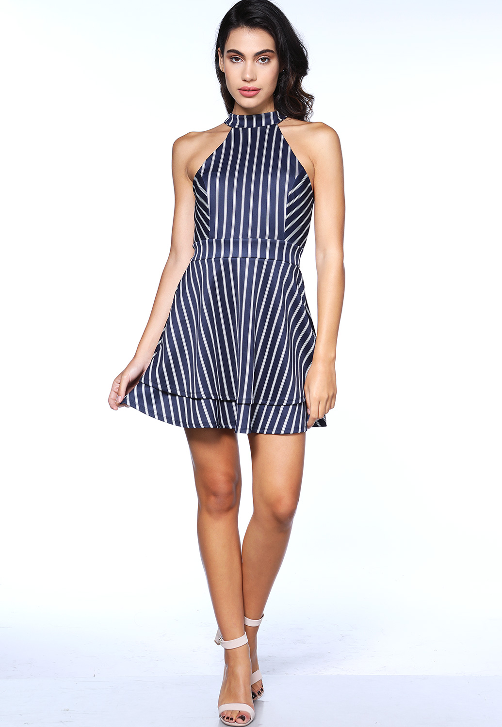 Striped Halter Neck Mini Dress
