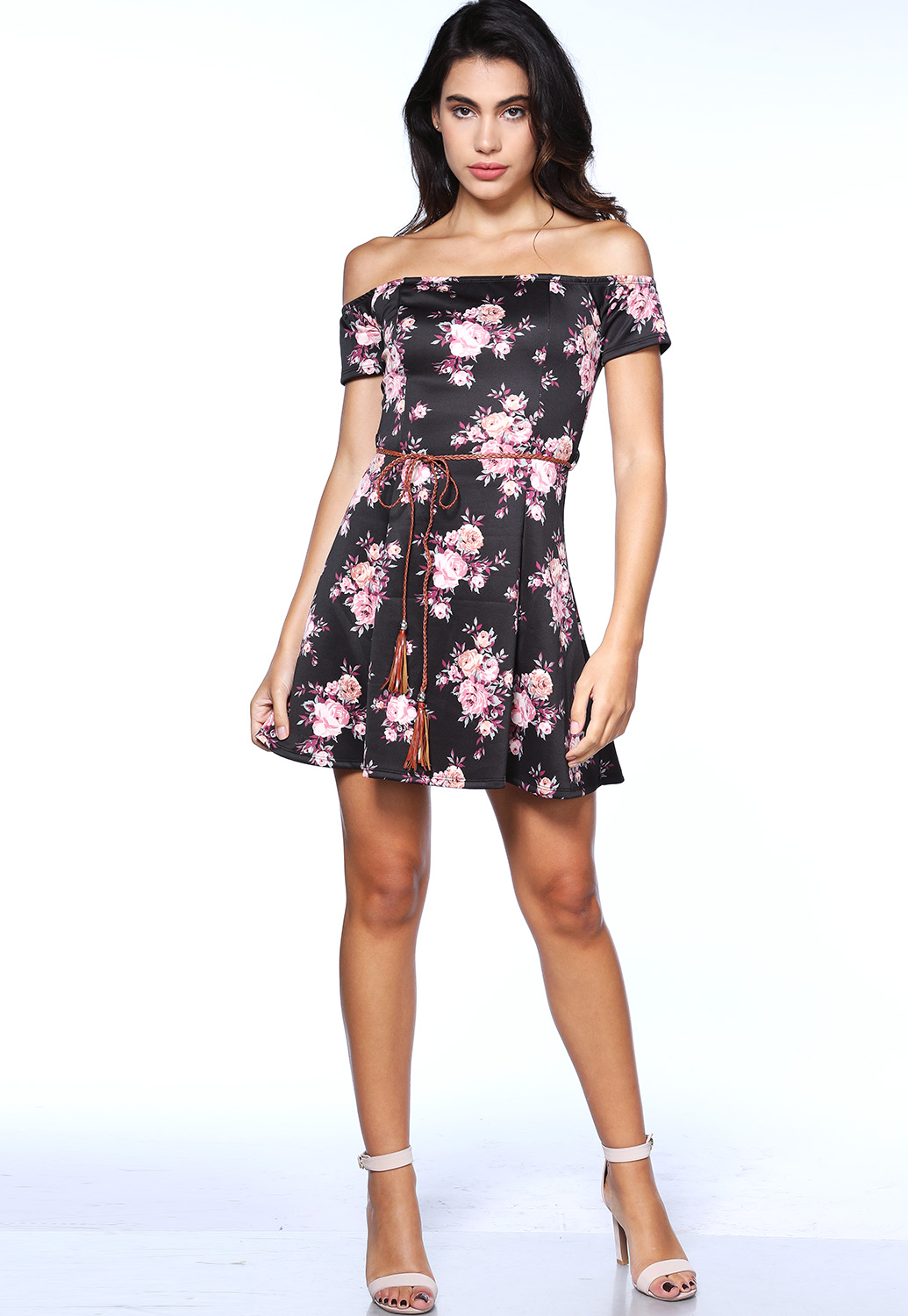 Floral Off The Shoulder Mini Dress