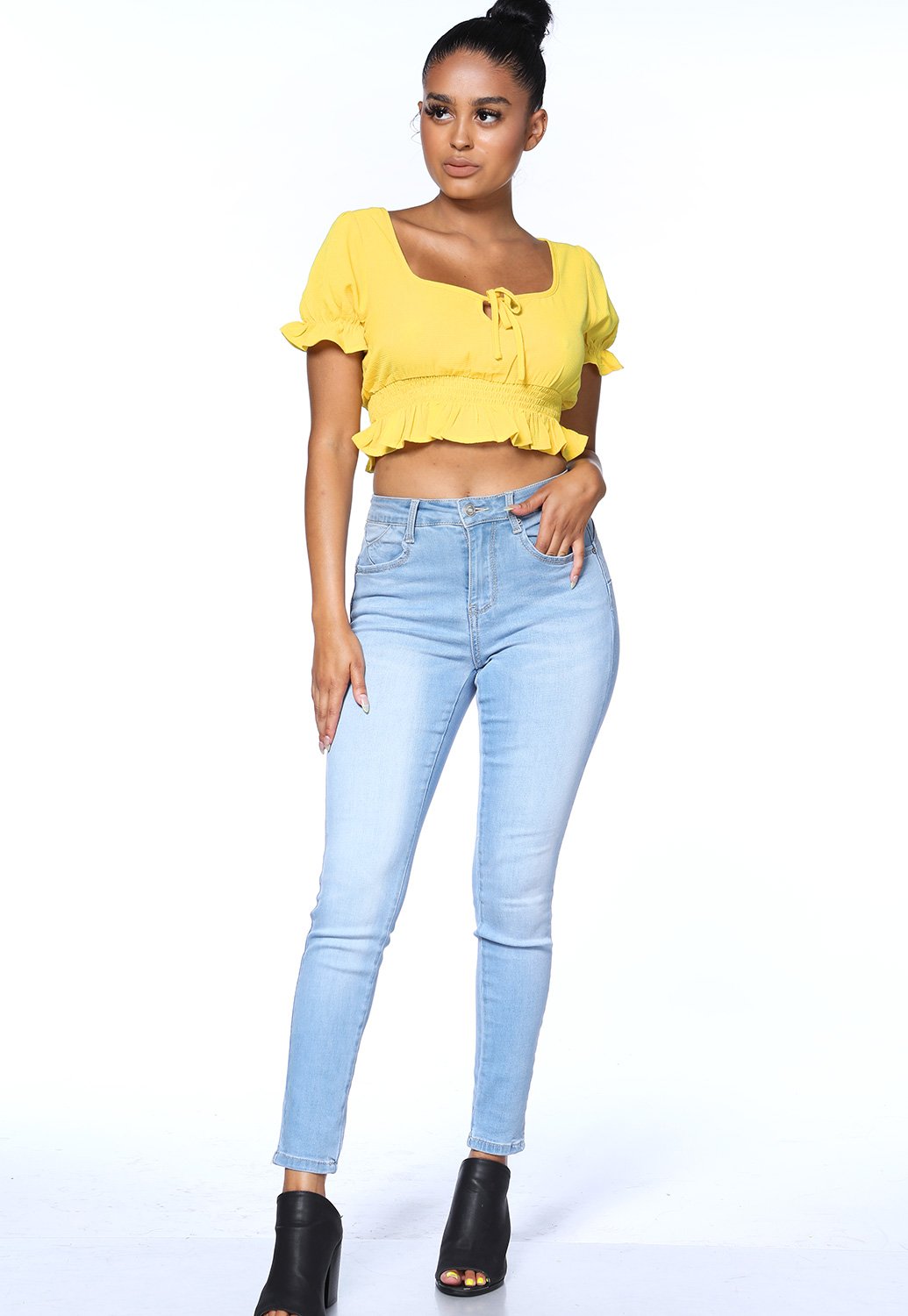 Ruffle Trim Casual Top