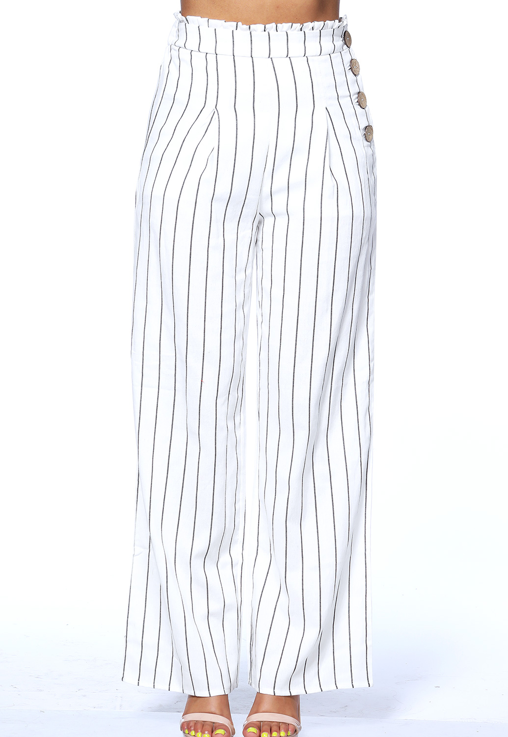 High Waisted Pinstriped Casual Pants