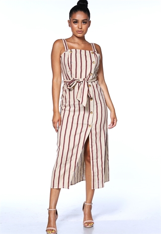 Pinstriped Tie Front Maxi Dress