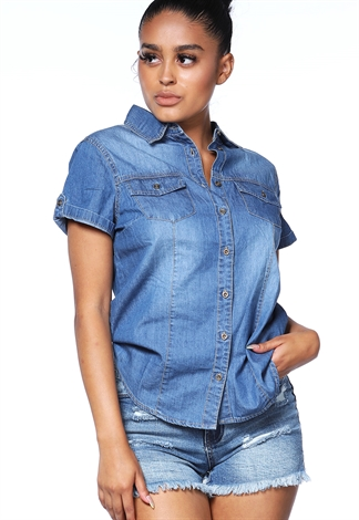 Button Up Denim Blouse