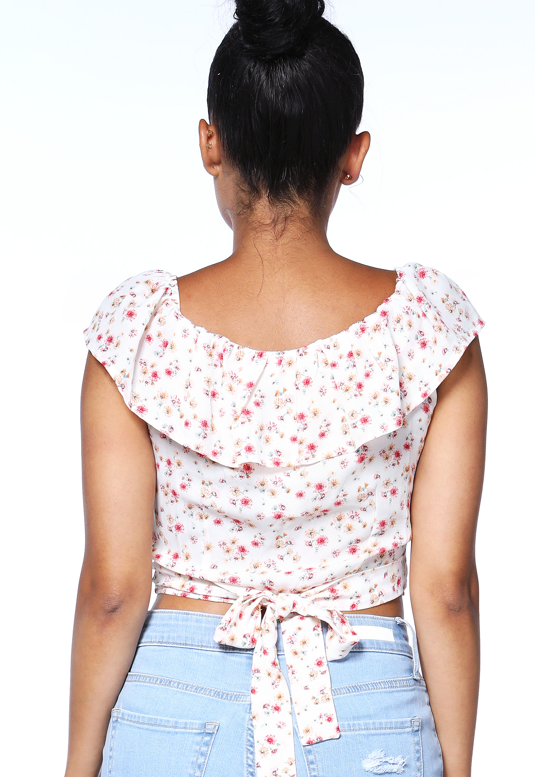 Floral Flare Trim Top
