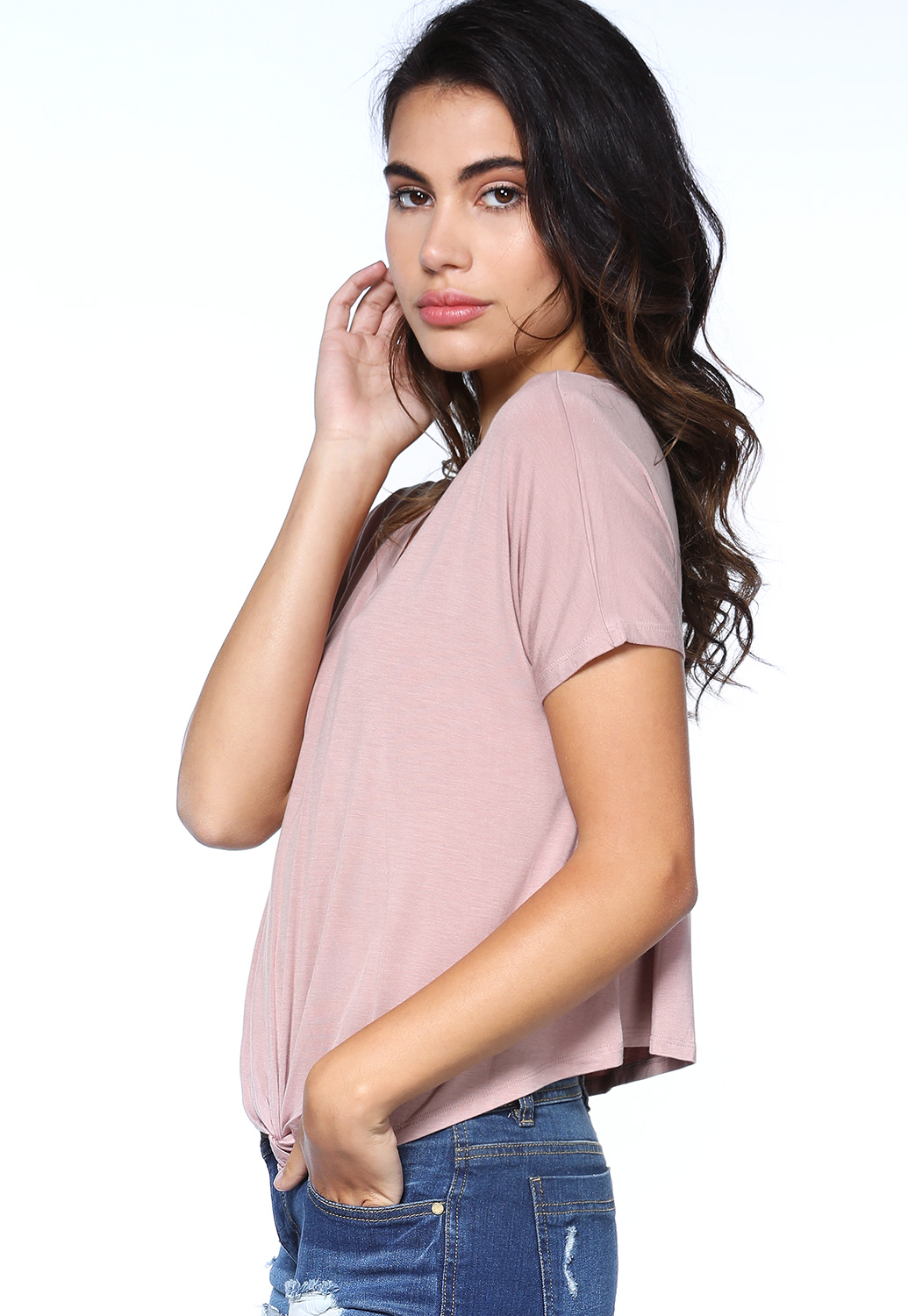 Knotted V-Neck Top