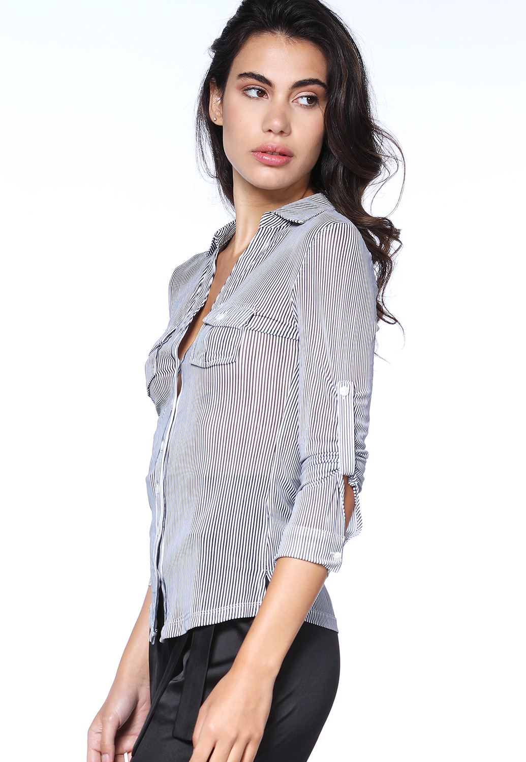 Sheer Pinstriped Dressy Top