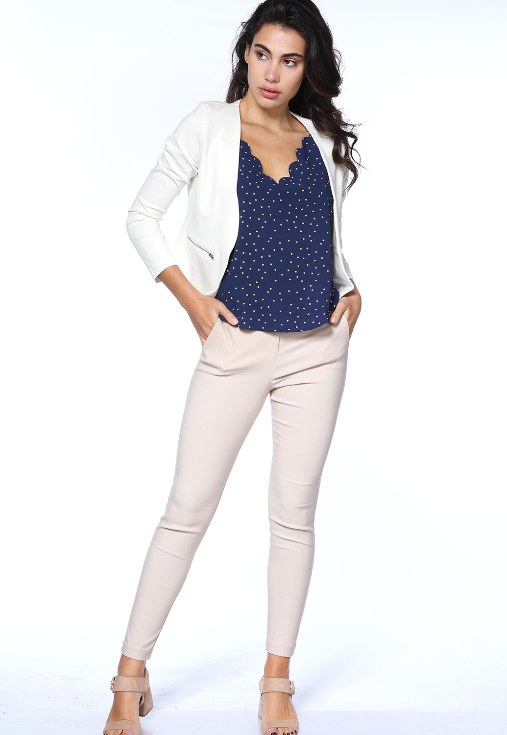 Open Front Zipper Detail Blazer