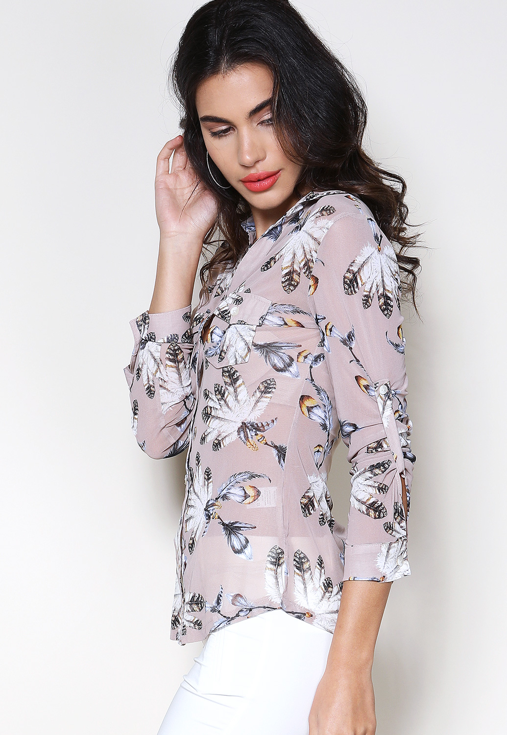 Sheer Mesh Feather Print Top