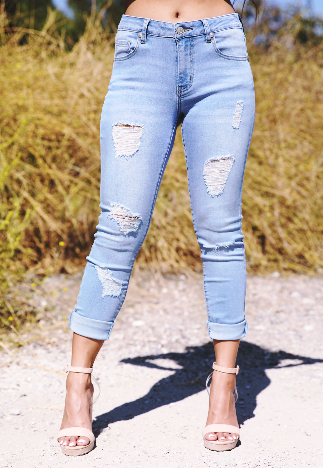 Distress Ankle Skinny Jeans