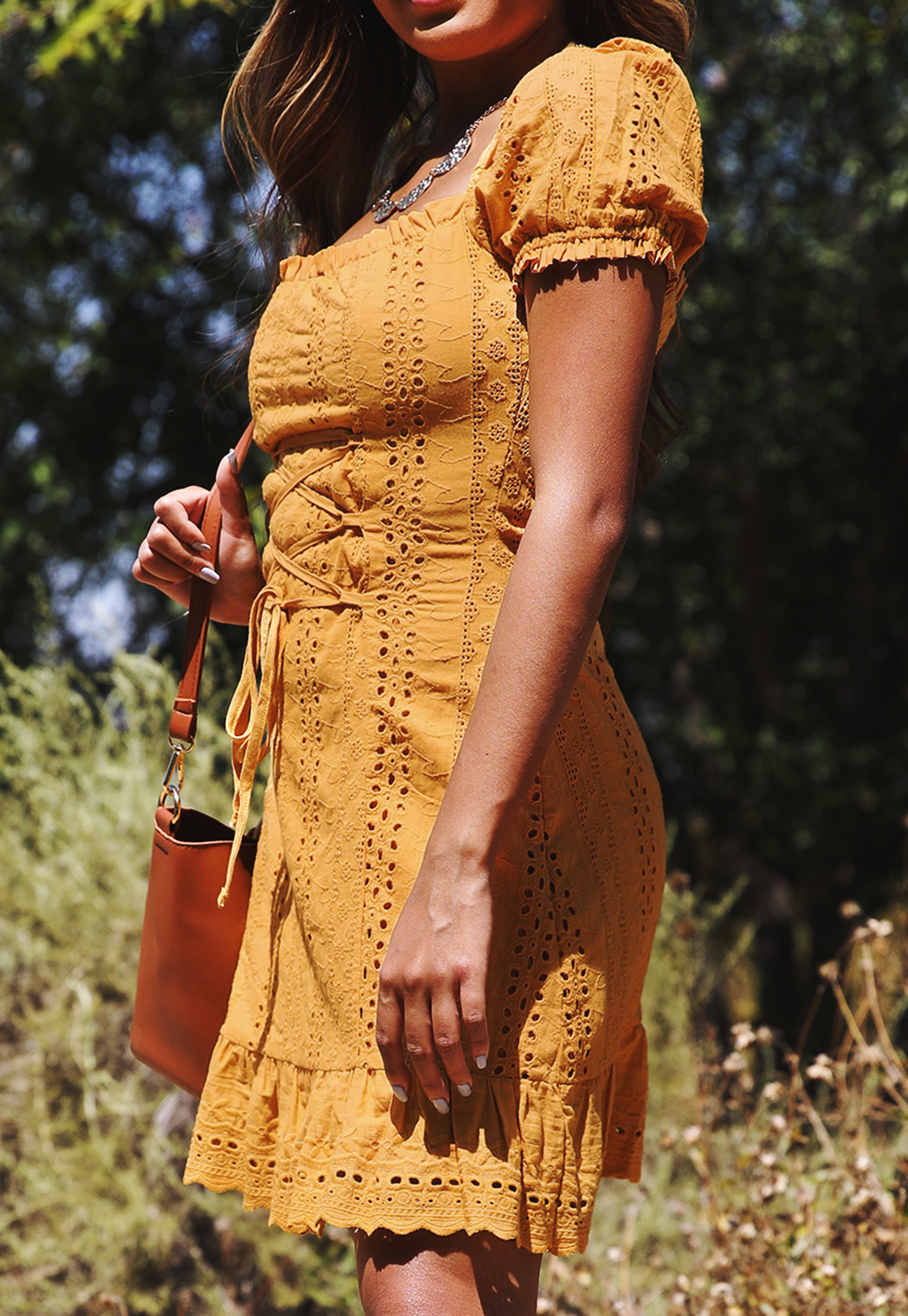 Eyelet Lace Up Mini Dress