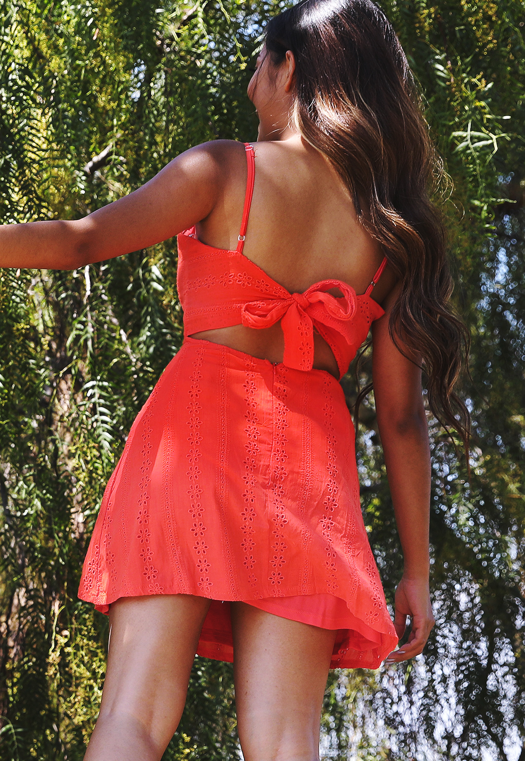 Eyelet Tie Back Dress