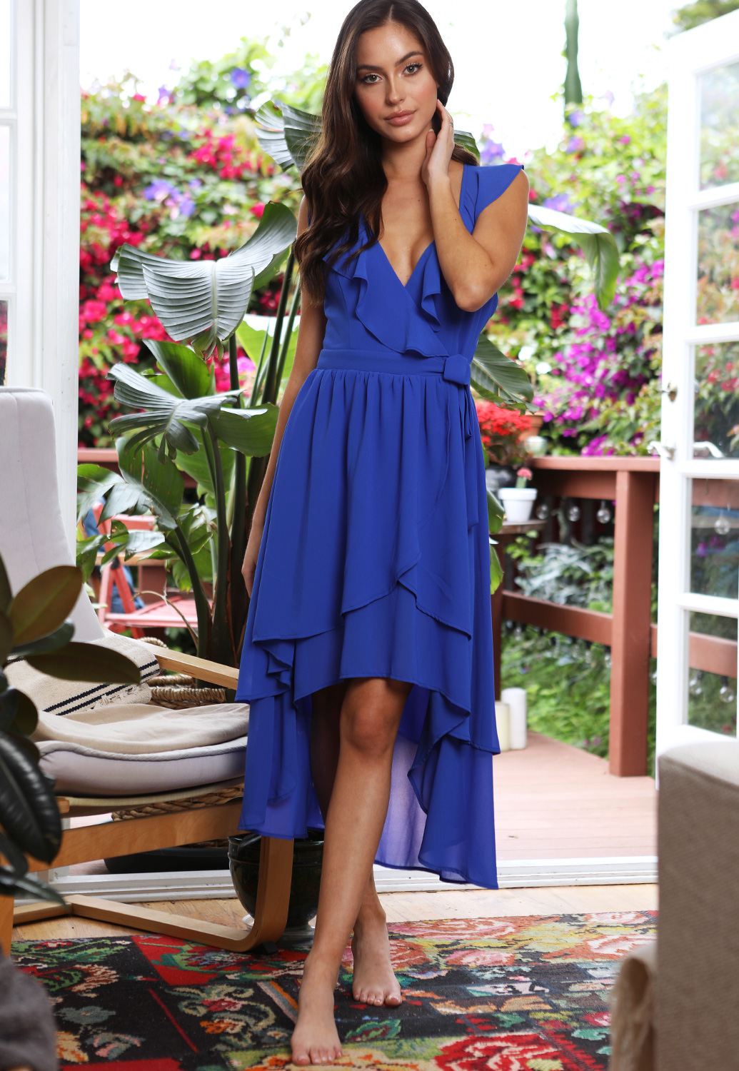 High Low Ruffle Trim Dress