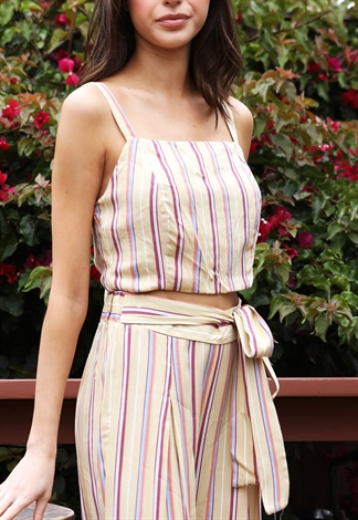 Striped Tie Back Top