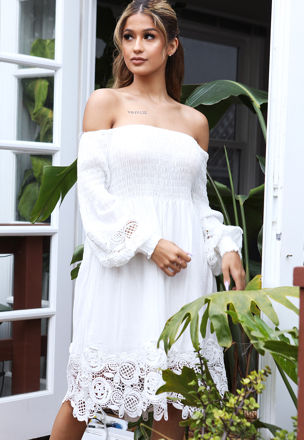 Off The Shoulder Crochet Trim Dress