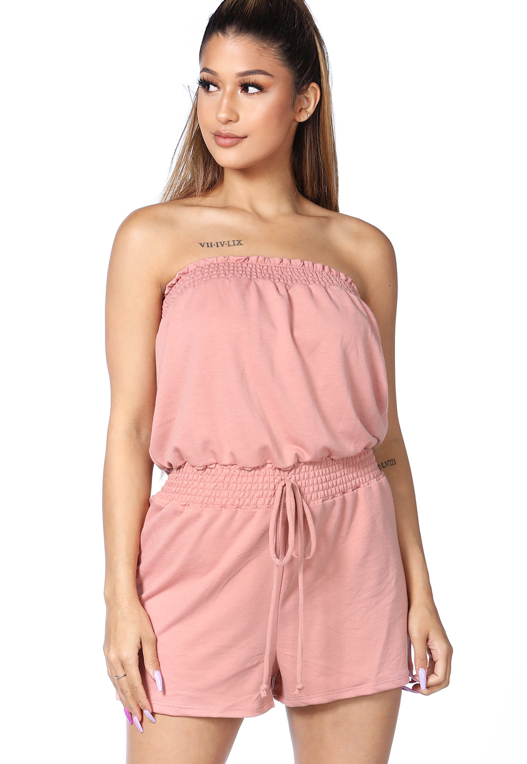 Smocked Detail Strapless Romper