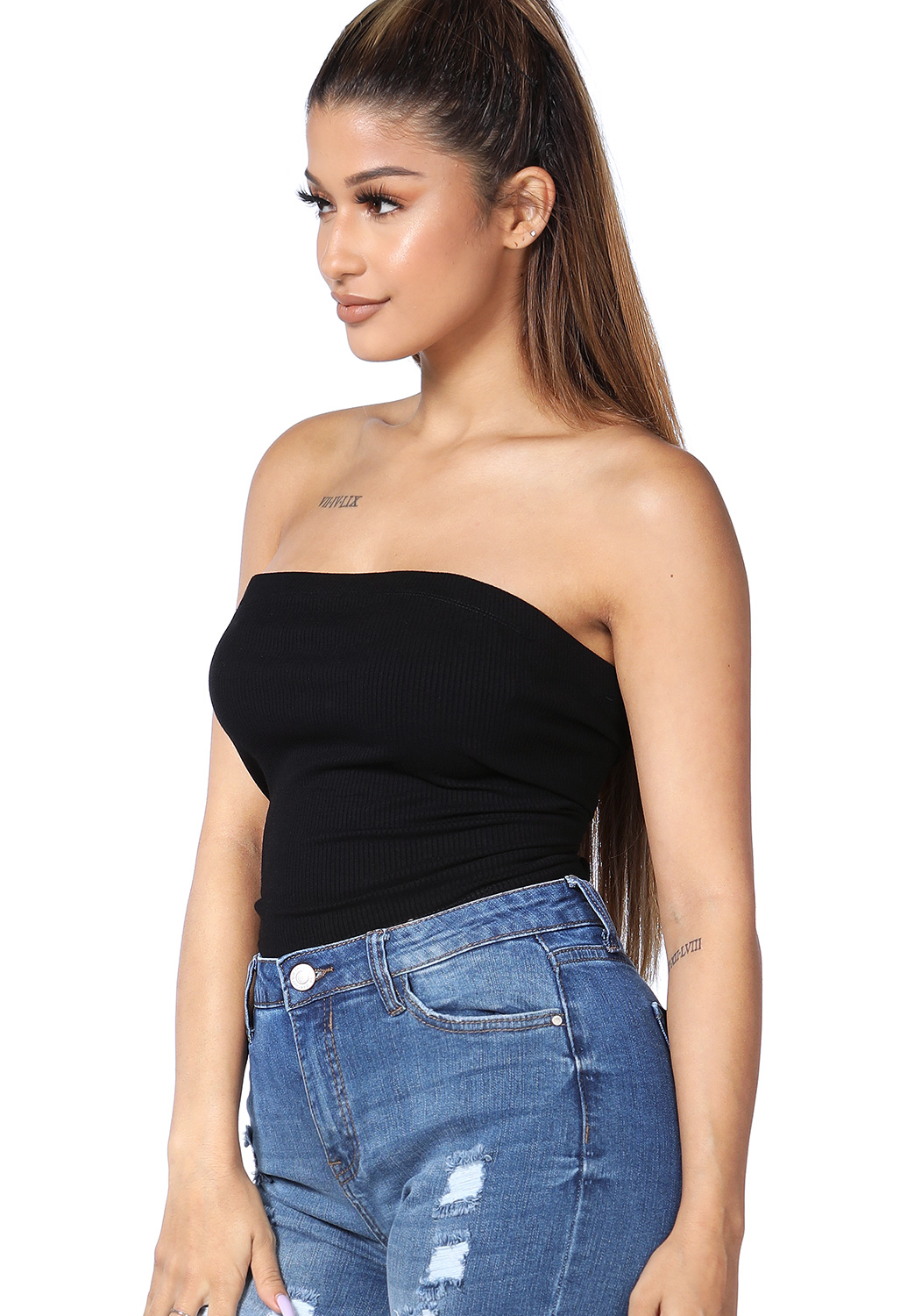 Strapless Back Lace Up Top