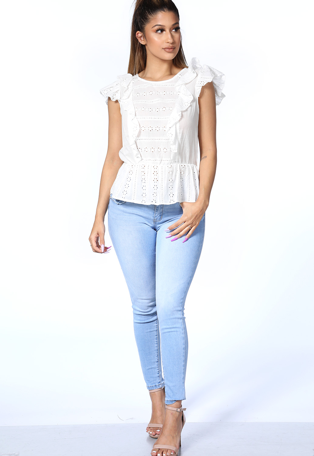 High Low Eyelet Top