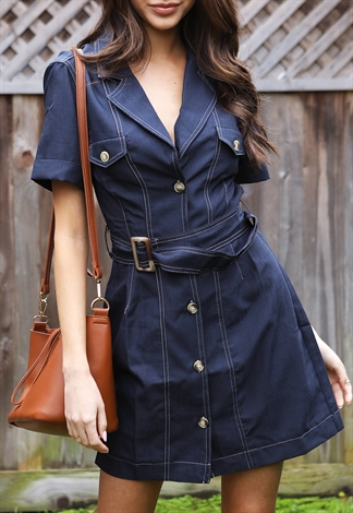 Button Up Belted Mini Dress