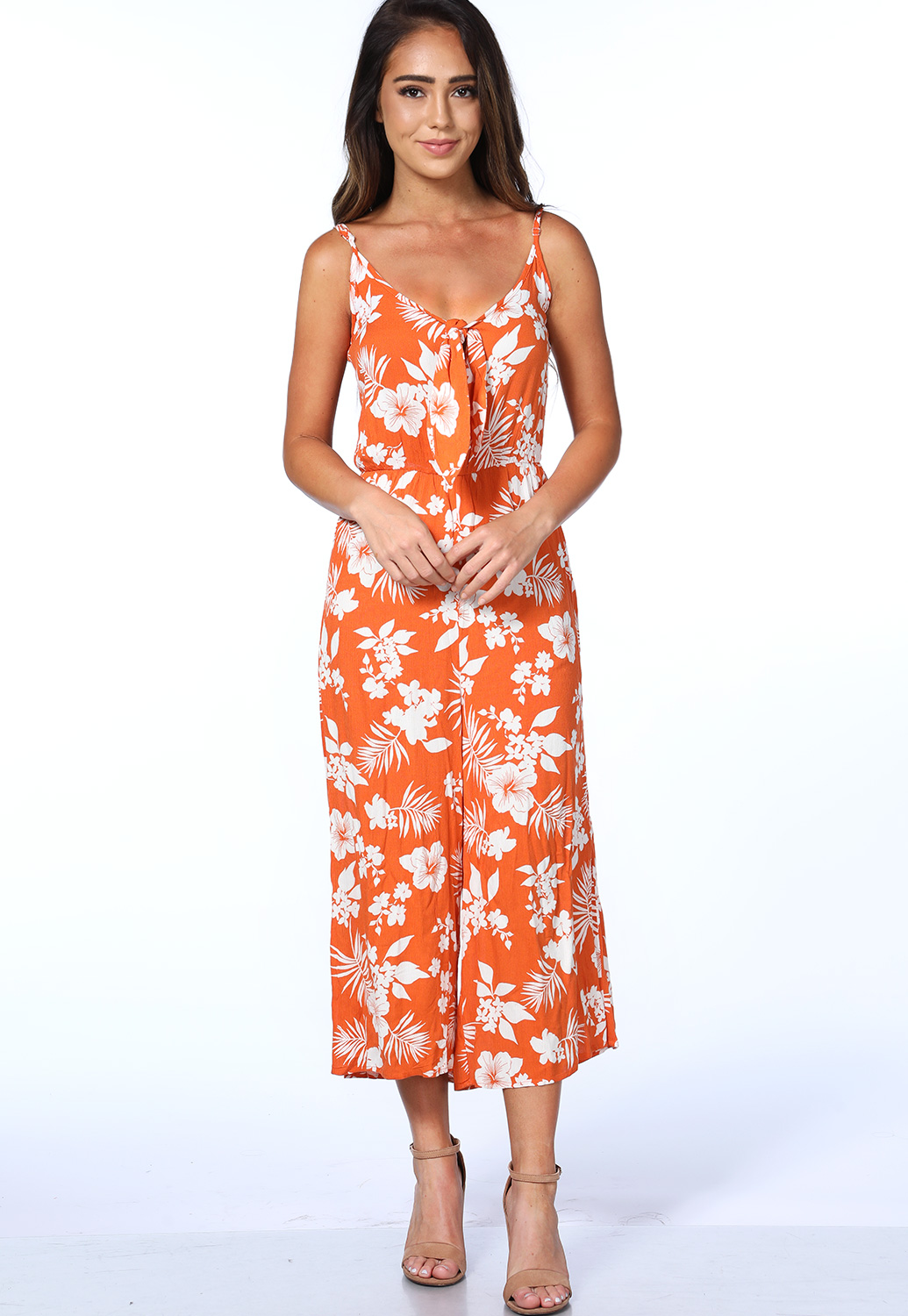Tropical Leaf Print Jumpsuit