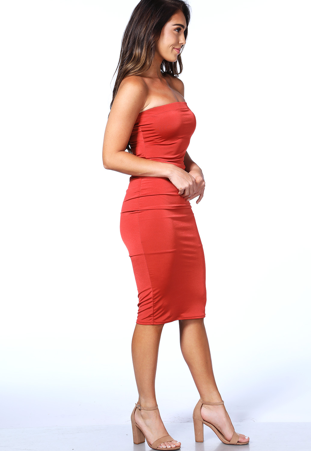 Strapless Satin Bodycon Dress