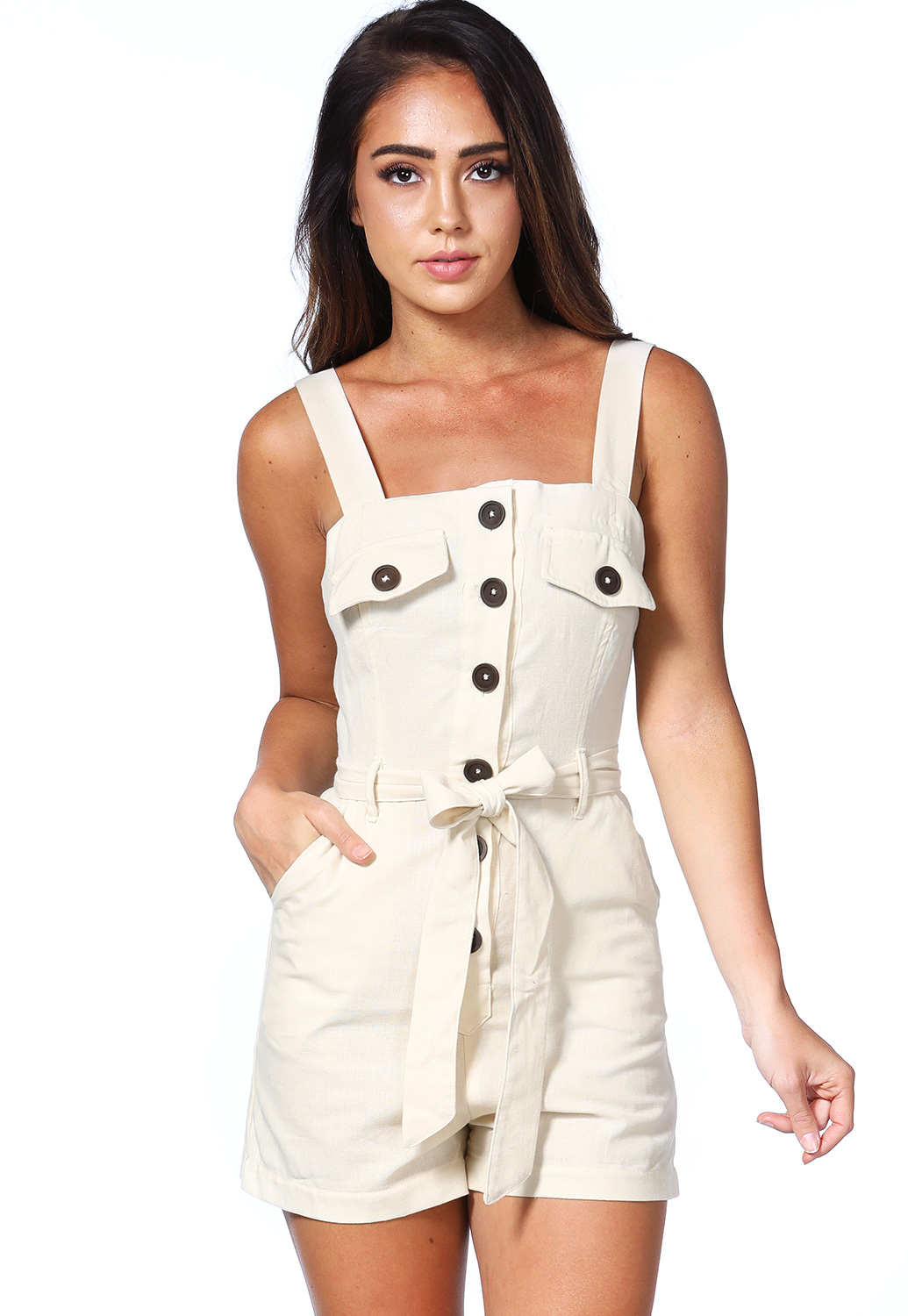 Button Up Tie Front Romper