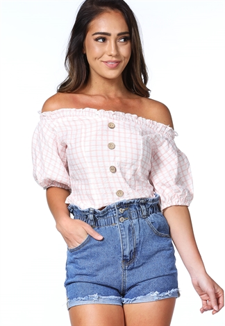 Button Top Ruffle Trim Top