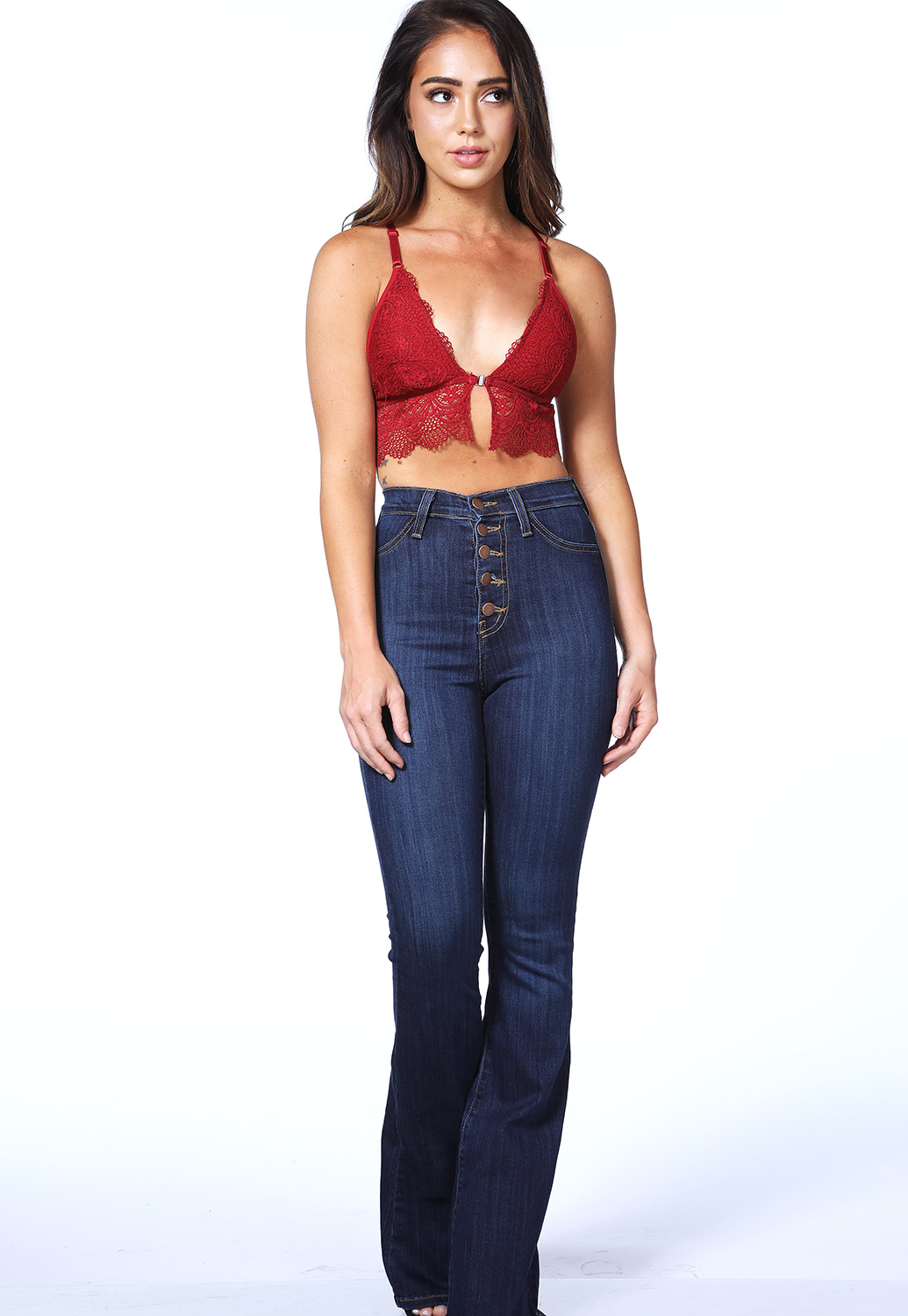 Multi Button Bell Bottom Jeans